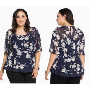 Torrid  Navy Watercolor Floral Chiffon Peplum Top